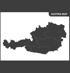 The detailed map of the austria with regions vector