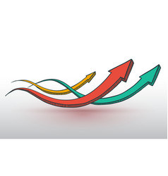 three arrows hand drawn style vector image