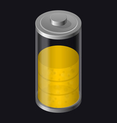 transparent glass battery high charging yellow vector image