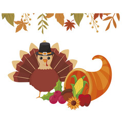 Turkey and plenty horn thanksgiving day vector