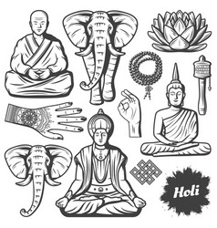 Vintage buddhism religion elements set vector