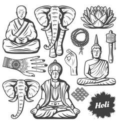 vintage buddhism religion elements set vector image