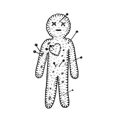Voodoo doll engraving vector
