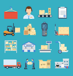 warehouse and logistic set vector image