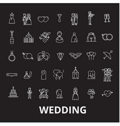 wedding editable line icons set on black vector image