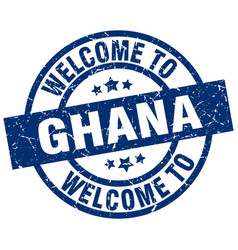 Welcome to ghana blue stamp vector