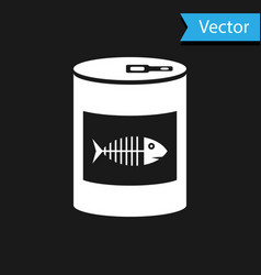 White canned food for cat icon isolated on black vector