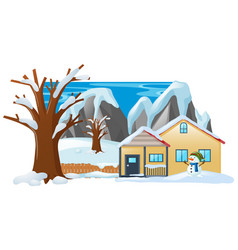 Winter scene with snowman in front of house vector