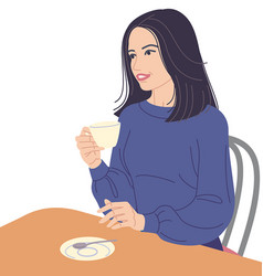 Woman sitting at table and drinking coffee vector