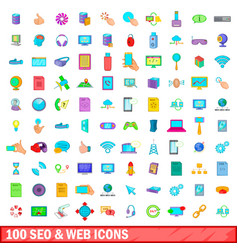 100 seo and web icons set cartoon style vector image vector image