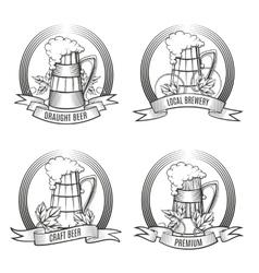 Beer Mug Set vector image vector image