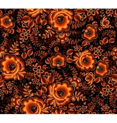 Orange floral seamless pattern on black background vector image vector image