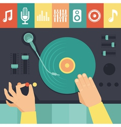 Turntable and dj hands vector