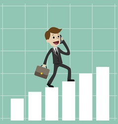 businessman going up on the growing chart vector image