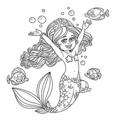 cute happy little mermaid girl outlined isolated vector image vector image