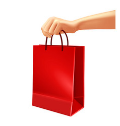 hand holding red shopping bag vector image