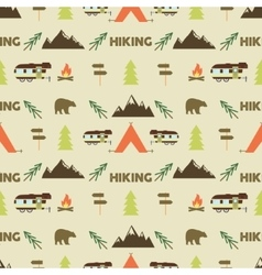 Hiking seamless pattern Hiking trail seamless vector image
