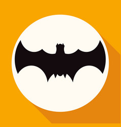 icon bat on white circle with a long shadow vector image