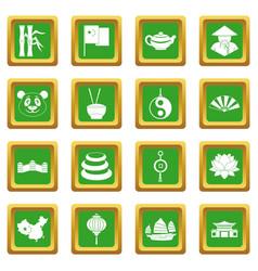 China travel symbols icons set green vector