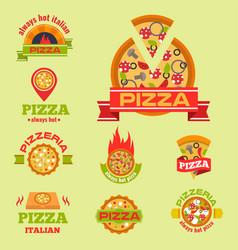 delivery pizza logo badge pizzeria vector image