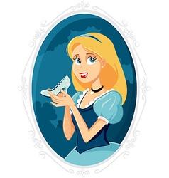 Princess Cinderella Holding Magic Shoe Cart vector image vector image