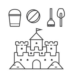 sand castle and beach toys icons vector image vector image