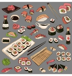Colored Hand drawn sushi set vector image vector image