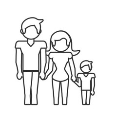 family dad mom and son outline vector image