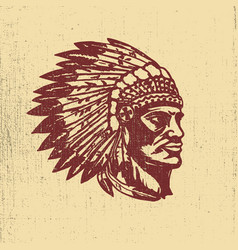 native american chief head design elements for vector image