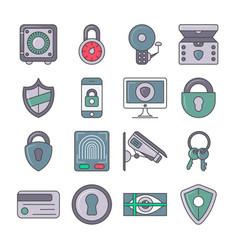 protection and security pictogram set vector image