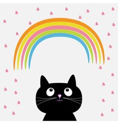 Rainbow and pink heart rain with cute cartoon cat vector image vector image