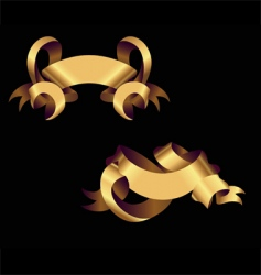 two golden ribbons vector image vector image