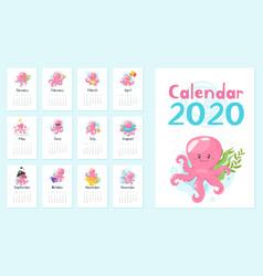 2020 calendar page vector