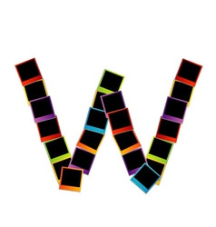 Alphabet W with colorful polaroids vector image