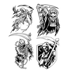 Angel death crown devil skull set vector