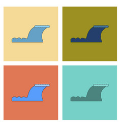 Assembly flat icons disaster tsunami vector