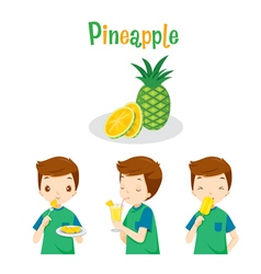 Boy With Pineapple Fruit Juice Ice Cream vector image