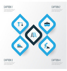 building colorful icons set collection of case vector image vector image