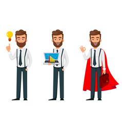 business man cartoon character set three poses vector image