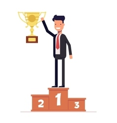 Businessman or manager standing on the winners vector