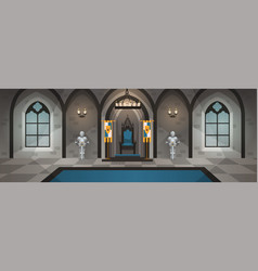 Castle hall medieval palace with royal decor and vector