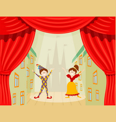 childrens theater a scene with two young actors vector image