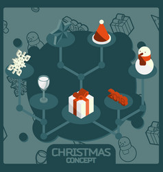 christmas color concept isometric icons vector image
