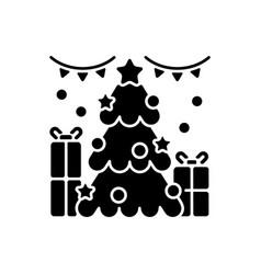 christmas tree black glyph icon vector image