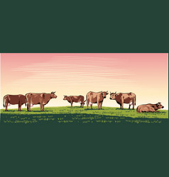 Cows grazing in a landscape vector