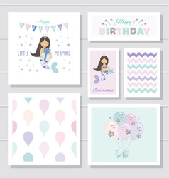 cute birthday cards set for girls little mermaid vector image