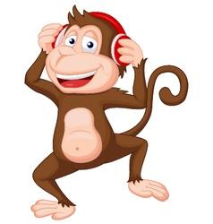 Cute monkey cartoon dancing vector
