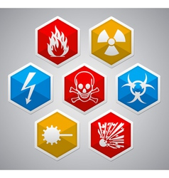 Danger hexagon icon sign set vector image