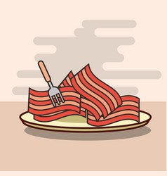 delicious pieces of bacon in dish with fork vector image