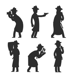 Detective silhouettes isolated on white policeman vector
